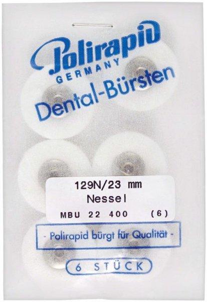 Miniaturbürste - Packung 6 Bürsten, Nessel, Ø 23 mm, unmontiert von Polirapid