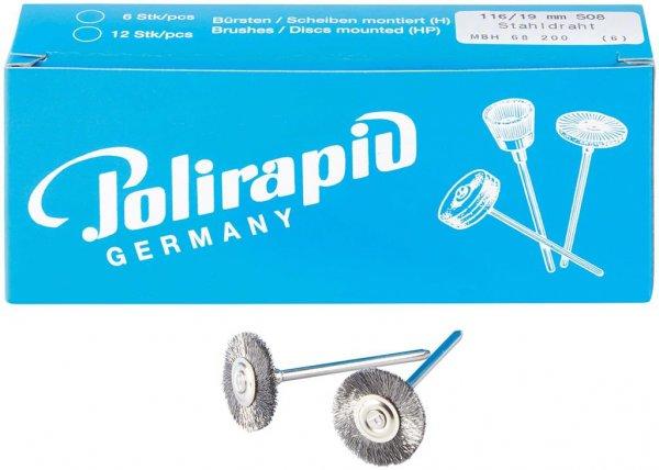 Miniaturbürste - Packung 6 Bürsten, Stahldraht 0,08 mm, Ø 19 mm von Polirapid