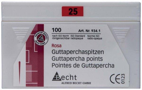 Guttaperchaspitzen rosa - Packung 100 Stück ISO 025 von Becht