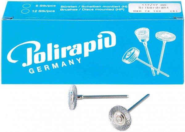 Miniaturbürste - Packung 6 Bürsten, Silberdraht 0,08 mm, Ø 17 mm von Polirapid