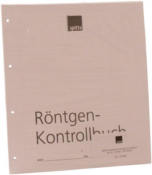 Einlageblatt - Packung 50 Blatt Röntgen-Kontrollbuch von Spitta Verlag