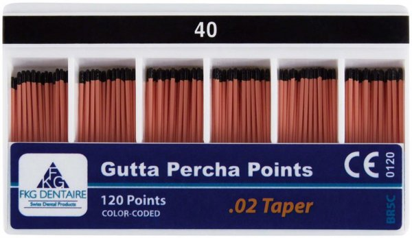 FKG Gutta Percha - Packung 120 Stück Taper.02 ISO 040 von American Dental