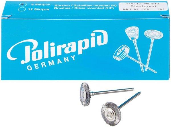 Miniaturbürste - Packung 6 Bürsten, Stahldraht 0,12 mm, Ø 17 mm von Polirapid