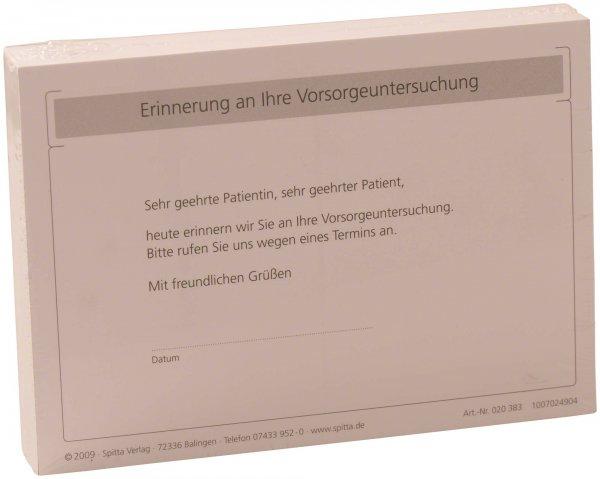 """Postkarte - Packung 100 Karten """"Erinnerung Vorsorgeuntersuchung"""" von Spitta Verlag"""