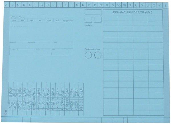 Kartei-Faltmappe A5 - Packung 100 Mappen blau von Beycodent