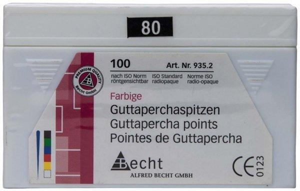 Guttaperchaspitzen farbig - Packung 100 Stück ISO 080 von Becht
