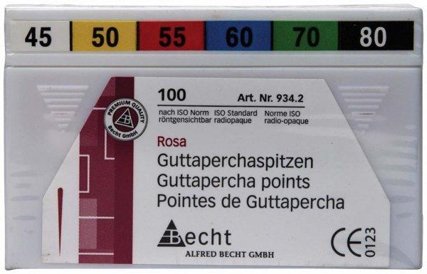 Guttaperchaspitzen rosa - Sortiment 100 Stück ISO 045-080 von Becht