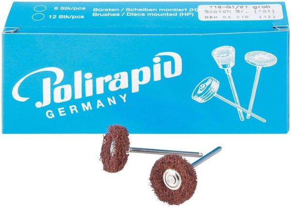 Miniaturbürste - Packung 12 Bürsten, 1 Scheibe 3M Scotch-BriteT grob, Ø 21 mm ... von Polirapid