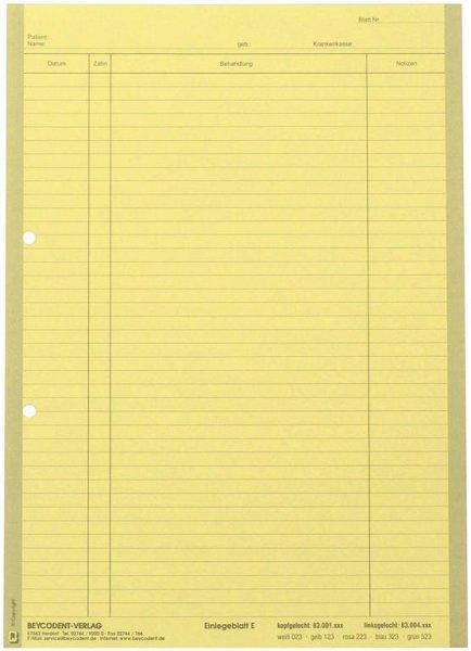 Einlegeblatt - Packung 1.000 Blatt gelb E, kopfgelocht von Beycodent