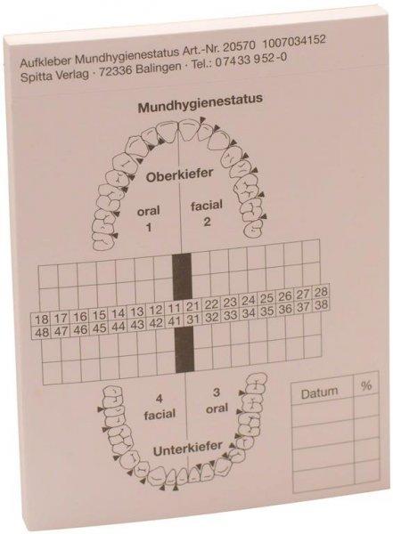 Befundaufkleber - Block 50 Befundaufkleber Mundhygienestatus von Spitta Verlag
