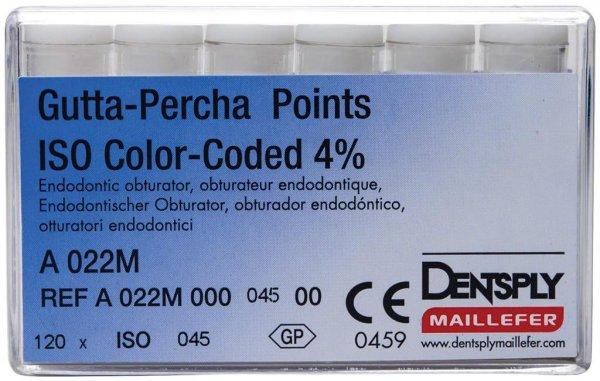 Gutta-Percha Spitzen - Packung 120 Stück Taper.04 ISO 045 von Dentsply Sirona