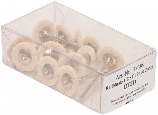 Radbürste Handstück - Packung 12 Bürsten montiert Ziegenhaar 19 mm von OMNIDENT