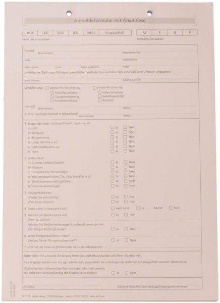 Formulare - Block 100 Blatt Anmeldung mit Anamnese weiß, A4 von Spitta Verlag
