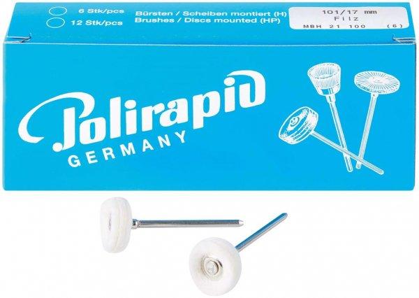 Miniaturbürste - Packung 6 Bürsten, Filz, Ø 17 mm von Polirapid