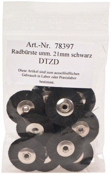 Radbürste Handstück - Packung 12 Bürsten unmontiert Borsten schwarz 21 mm von OMNIDENT