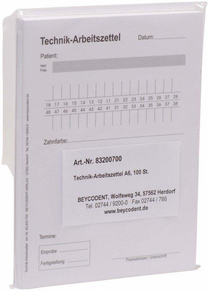 Technik-Arbeitszettel - Packung 100 Zettel von Beycodent