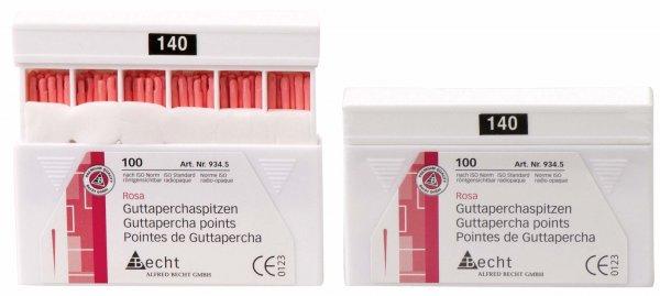 Guttaperchaspitzen rosa - Packung 100 Stück ISO 140 von Becht
