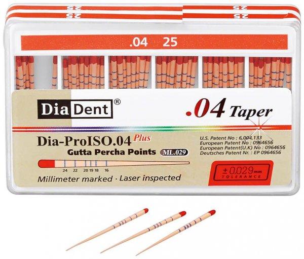 Dia-Prolso Plus Guttapercha-Spitzen - Packung 60 Stück Taper.04, ISO 025 von Diadent