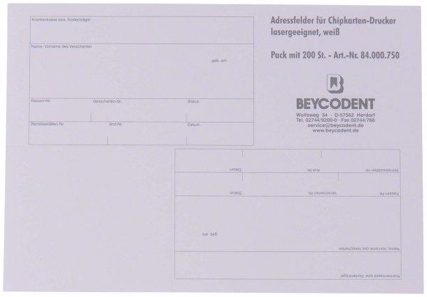 Adressfelder für Chipkarten-Drucker - Packung 200 Etiketten weiß 82 x 55 mm von Beycodent