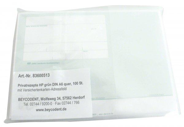 Privatrezepte HP - Packung 100 Bögen grün, DIN A6 von Beycodent