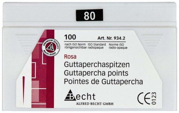 Guttaperchaspitzen rosa - Packung 100 Stück ISO 080 von Becht