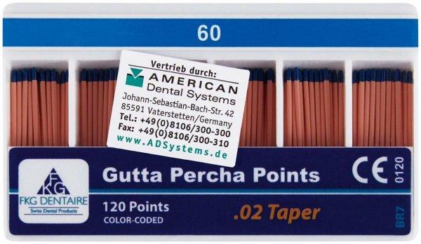 FKG Gutta Percha - Packung 120 Stück Taper.02 ISO 060 von American Dental
