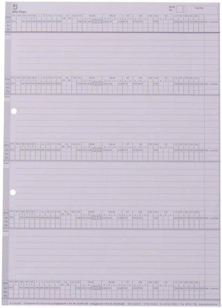 Einlegeblatt KFO-Behandlung - Packung 100 Blatt linksgelocht von Beycodent