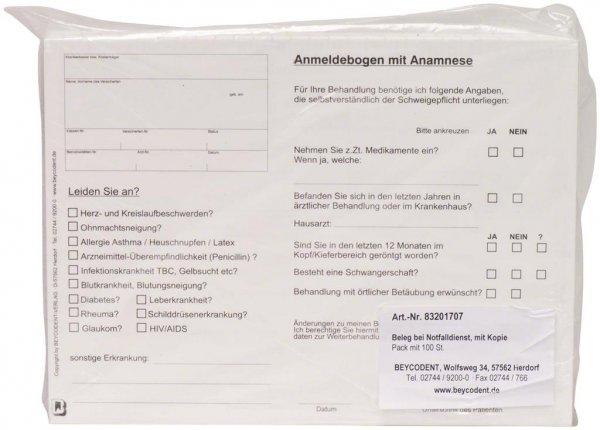 Beleg bei Notfalldienst - Packung 100 Blatt von Beycodent