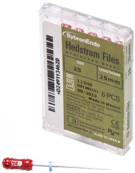 Hedströmfeilen - Packung 6 Feilen 25 mm ISO 025 von SybronEndo