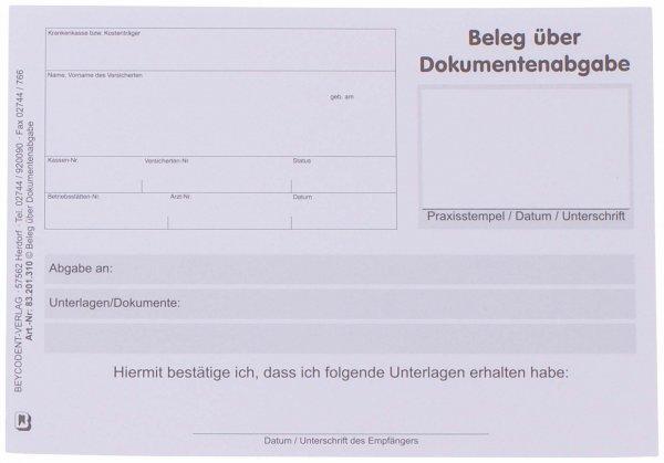 Beleg über Dokumentenabgabe - Block 100 Blatt von Beycodent
