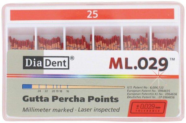 DiaDent® ML.029™ Gutta Percha Points - Packung 120 Stück ISO 025 von Diadent