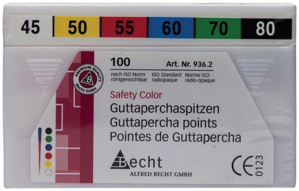 Guttaperchaspitzen Safety Color - Sortiment 100 Stück ISO 045-080 von Becht