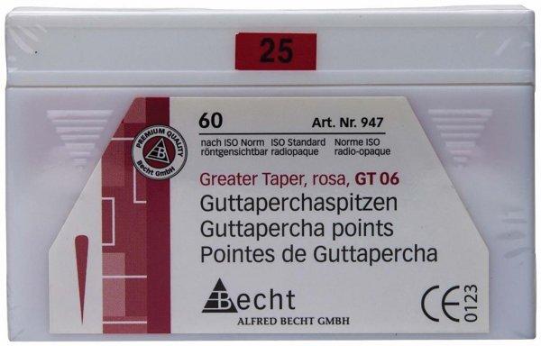 Guttaperchaspitzen Greater Taper - Packung 60 Stück Taper.06, ISO 025 von Becht