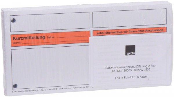 Formulare - Block 100 Blatt Kurzmitteilung weiß, 2-fach, selbstdurchschr ... von Spitta Verlag