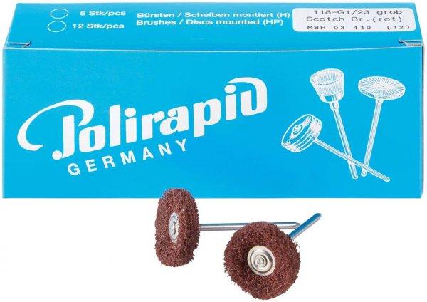 Miniaturbürste - Packung 12 Bürsten, 1 Scheibe 3M Scotch-BriteT grob, Ø 23 mm ... von Polirapid