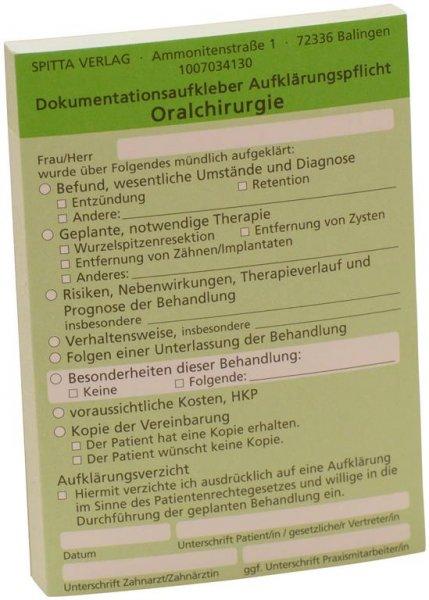 Dokumentationsaufkleber - Block 50 Aufkleber Oralchirurgie, grün von Spitta Verlag