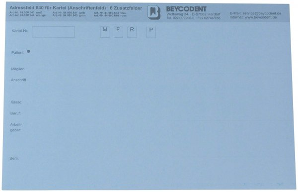 Adressfeld 640 - Packung 100 Blatt blau von Beycodent