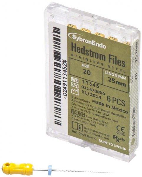 Hedströmfeilen - Packung 6 Feilen 25 mm ISO 020 von SybronEndo