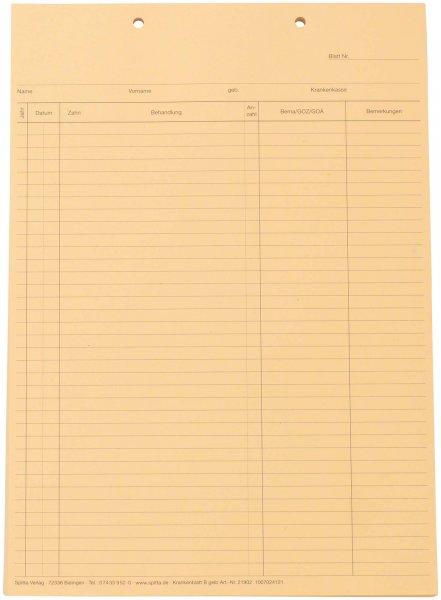 Krankenblatt B - Block 100 Blatt gelb, A5, kopfgelocht von Spitta Verlag