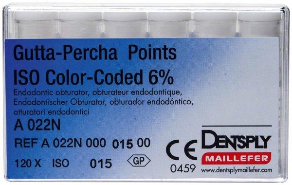 Gutta-Percha Spitzen - Packung 120 Stück Taper.06 ISO 015 von Dentsply Sirona
