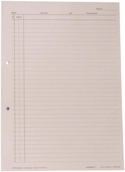 Krankenblatt M1 - Block 100 Blatt weiß, seitlich gelocht, A4 von Spitta Verlag