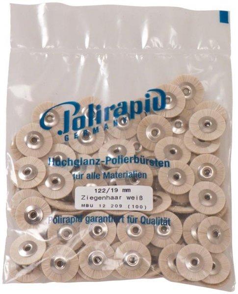 Miniaturbürste - Packung 100 Bürsten, Ziegenhaar weiß, Ø 19 mm, unmontiert von Polirapid