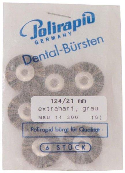 Miniaturbürste - Packung 6 Bürsten, Borste extrahart, Ø 21 mm, unmontiert von Polirapid