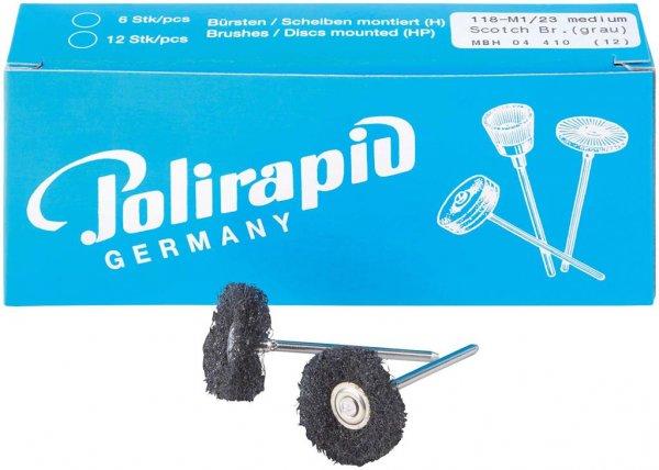 Miniaturbürste - Packung 12 Bürsten, 1 Scheibe 3M Scotch-BriteT medium, Ø 23 ... von Polirapid