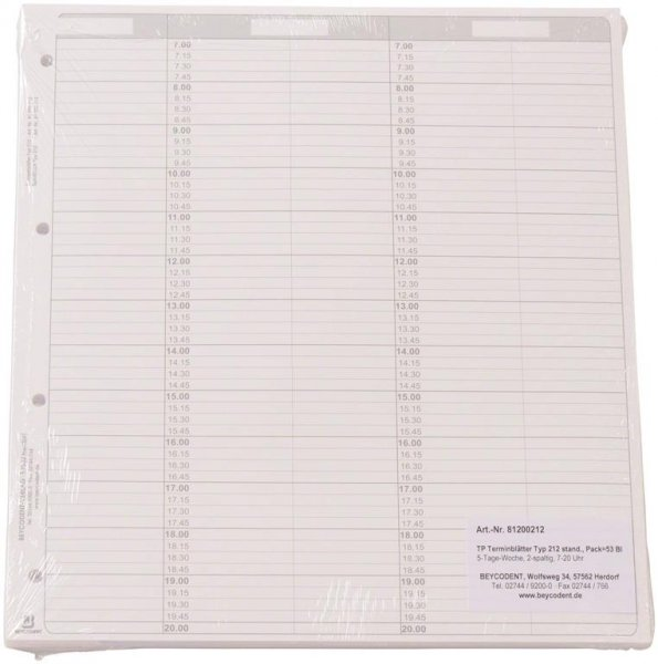 Terminblätter Classic Format - Packung 53 Terminblätter Typ 212, 5-Tage-Woche, 2-spaltig, 7 ... von