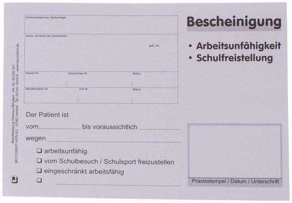 Bescheinigung über Arbeitsunfähigkeit/Schulfreistellung - Block 100 Blatt von Beycodent