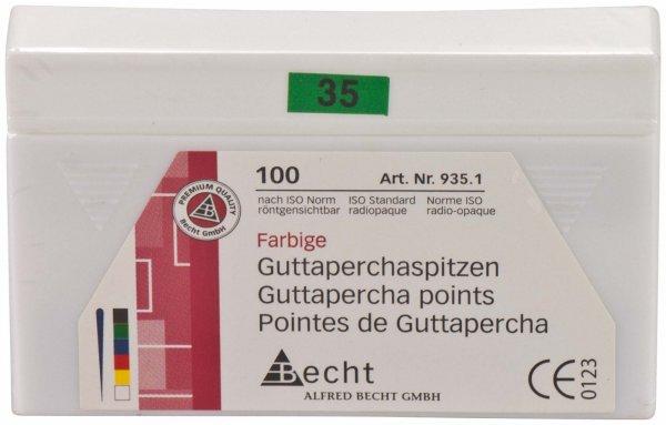Guttaperchaspitzen farbig - Packung 100 Stück ISO 035 von Becht