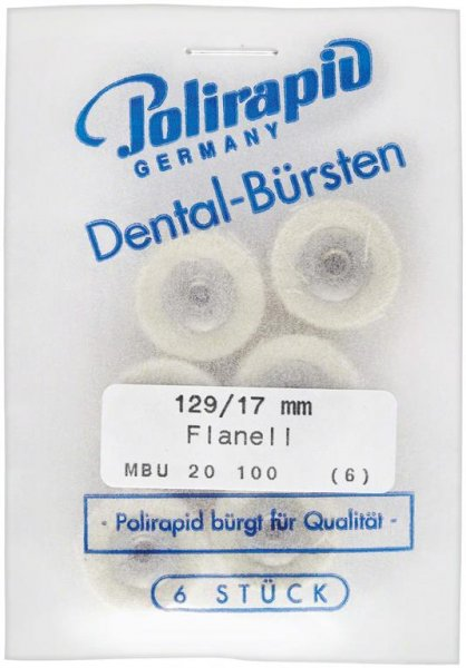 Miniaturbürste - Packung 6 Bürsten, Flanellstoff, Ø 17 mm, unmontiert von Polirapid