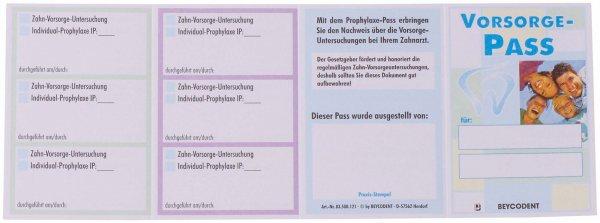Prophylaxe-Pass - Packung 100 Pässe 60 x 90 mm von Beycodent