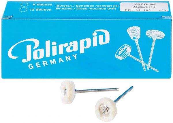 Miniaturbürste - Packung 6 Bürsten, Baumwollgarn, Ø 17 mm von Polirapid